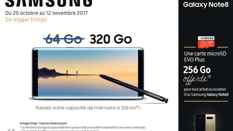 Samsung Galaxy-Note8 carteMicroSD gratuite