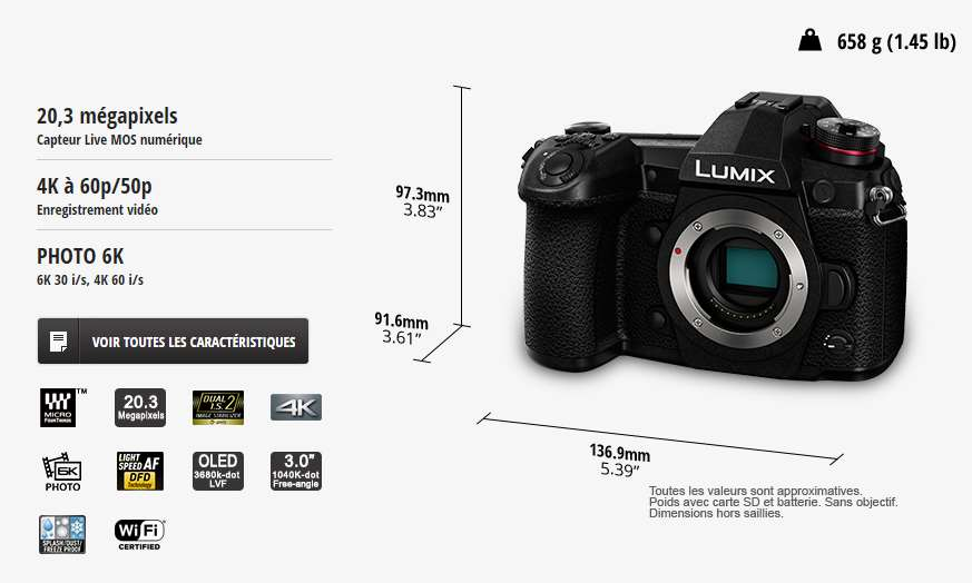 Panasonic Lumix G9 Hybrides Lumix