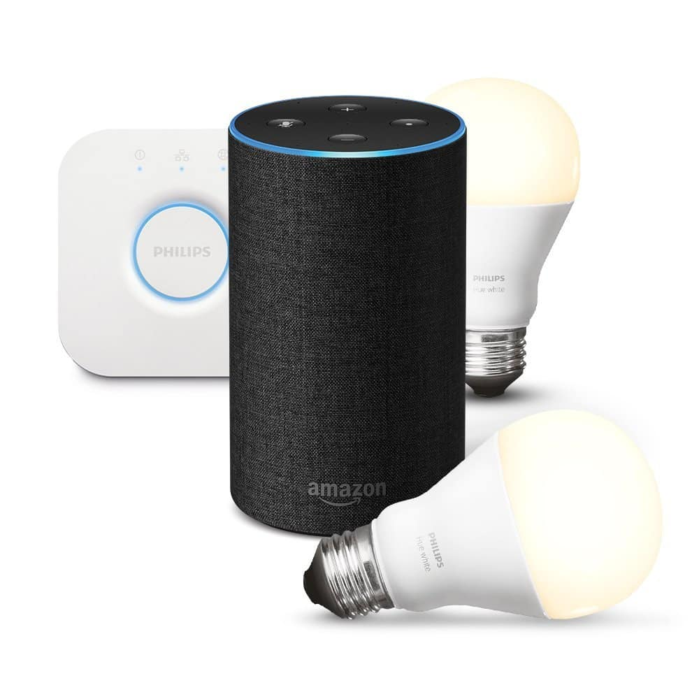bon plan 90 de remise sur le kit de d marrage philips hue white e27 et d un amazon echo. Black Bedroom Furniture Sets. Home Design Ideas