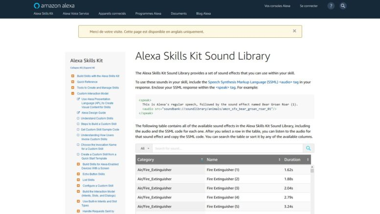 amazon Alexa sound library